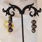 Grey 3 Pearls Drop Earrings