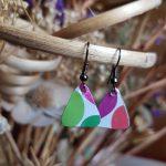 Multi Coloured Triangle Earrings