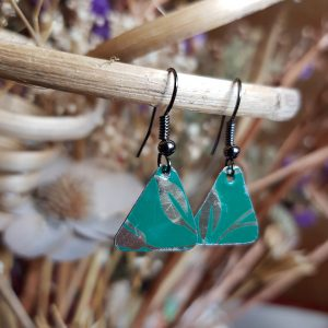 Green and Gold Triangle Earrings