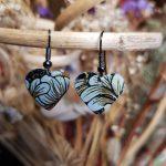 Brown Flower Heart Earrings