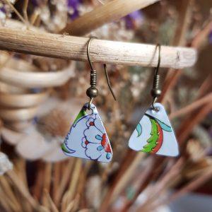 Flower Triangle Earrings