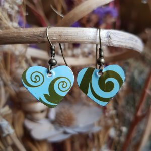 Blue and Gold Heart Earrings