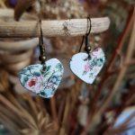 Pink Flowers Butterfly Earrings
