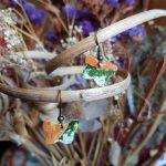 Orange and Green Butterfly Earrings