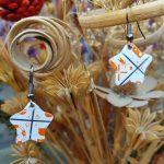White and Orange Star Earrings