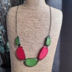 Pink and Lime Tagua Nut Necklace