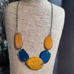 Yellow and Blue Tagua Nut Necklace