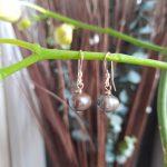 Grey Single Pearl Earrings