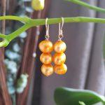 Gold 3 Pearls Drop Earrings