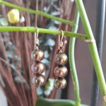 Green 3 Pearls Drop Earrings