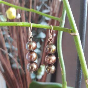 Green 3 Pearls Drop Earrings