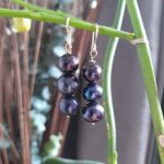 Indigo 3 Pearls Drop Earrings