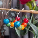 Rainbow Acai Seed Hoop Earrings